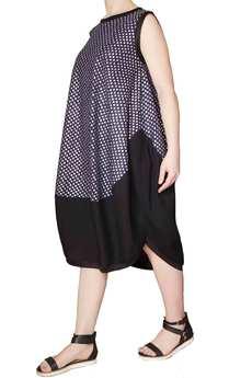 Non Tess - granatowa sukienka w srebrne kwiatki