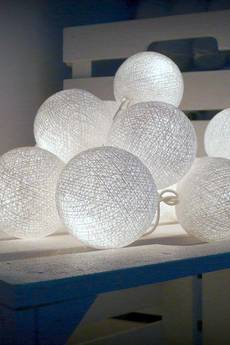 Qule - Pure White - lampki qule 10 cotton ball lights