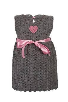 Dobrzykowska - Szara sukienka szydełkowa z sercem