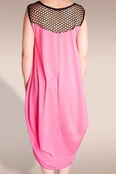 Non Tess - różowa sukienka z czarną siatką