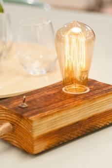 Leżakownia - old wood lamp