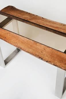 Mashoko Studio - Stolik kawowy RAHISI - drewno dębowe, stal i szkło