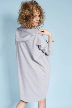 Madnezz - Zakapturzona Carla - sukienka z kapturem - szara