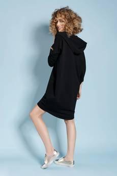 Madnezz - Zakapturzona Carla - sukienka z kapturem - czarna