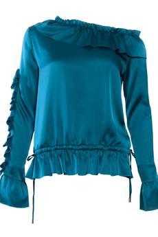 JO-LI - Bluzka satynowa asymetryczna z falbankami