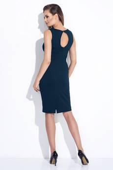Bien Fashion - Granatowa elegancka sukienka z ażurowym dekoltem