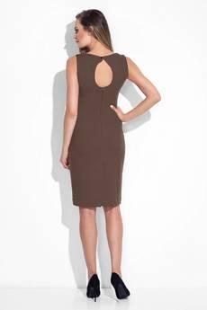 Bien Fashion - Brązowa elegancka sukienka z ażurowym dekoltem