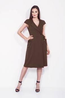 Bien Fashion - BRĄZOWA SUKIENKA KOPERTOWA Z KOKARDĄ W TALII