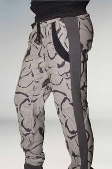 Non Tess - wełniane spodnie z lampasami w kwiaty