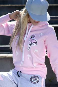 ŁAP NAS - Bluza Palms and Flamingo- Róż