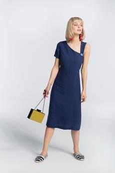 Zoee - Sukienka lniana letnia Blue Marine