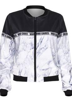 Who Cares - Baseball Jacket Marlble