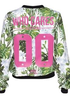 Who Cares - Baseball Jacket White Flowers