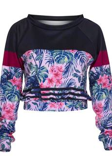 Who Cares - Sweatshirt Crop Fuchsia Flower