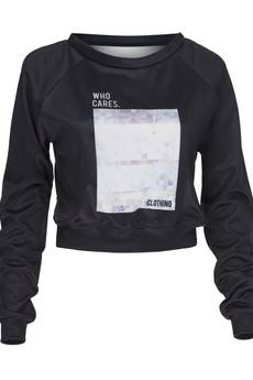 Who Cares - Sweatshirt Crop Tropical Glitch