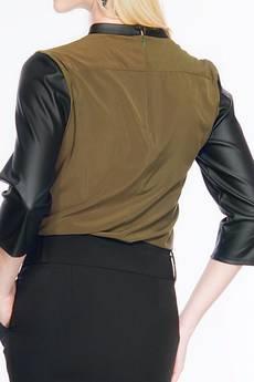 Soleil - Bluzka bluzka ze skórzanymi rękawkami ABK0014