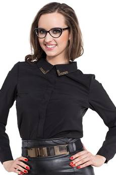Soleil - Czarna koszula z metalowym zdobieniem ABK0006