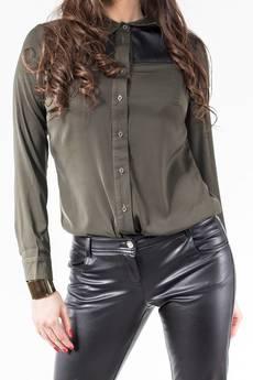 Soleil - Koszula khaki ze skórzaną wstawką ABK0009