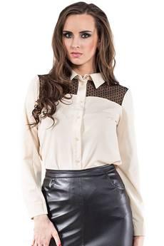 Soleil - Beżowa koszula z koronkową wstawką ABK0010