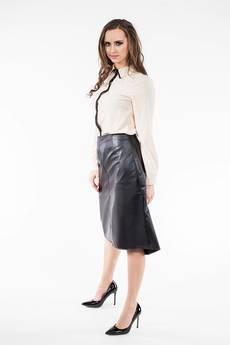 Soleil - Rozkloszowana spódnica z dłuższym tyłem z eko skóry SL6071