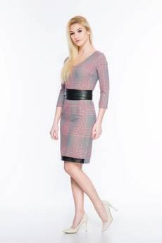 Soleil - Sukienka w kratę ze skórzanym paskiem SL2169