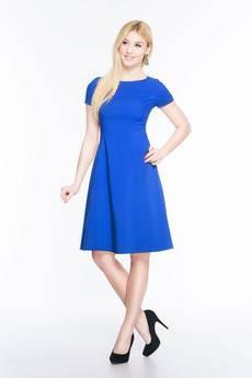 Soleil - Rozkloszowana sukienka midi SL2170BL SIZE PLUS