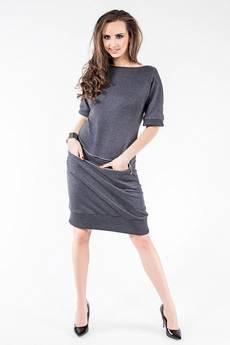 Soleil - Sukienka z dresówki z poziomym zamkiem SL2163G