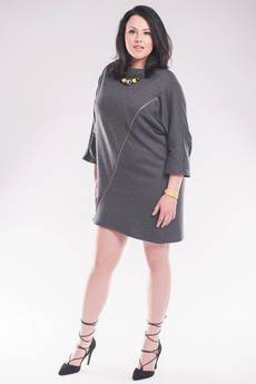 Soleil - Sukienka/ tunika nietoperz z zamkiem SL2142SP Size Plus