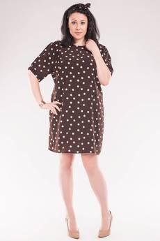 Soleil - Sukienka/tunika w groszki z paskiem SL2143SP Size Plus