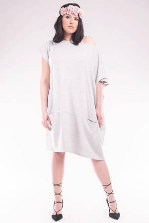 Asymetryczna tunika /sukienka z kominem SL2144SP Size Plus - 60691