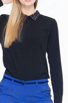 Soleil - Czarna bluzka z dżetami na kołnierzyku ABK0011