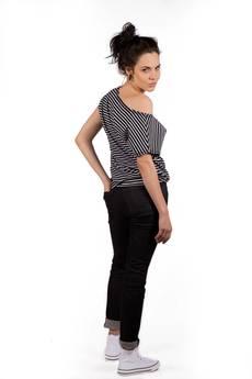 Slogan ubrania ekologiczne, etyczne i wegańskie - AUDIO STRIPES ekologiczny top damski