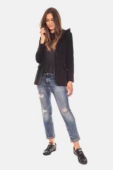 Bien Fashion - Czarna marynarka dresowa damska z kapturem