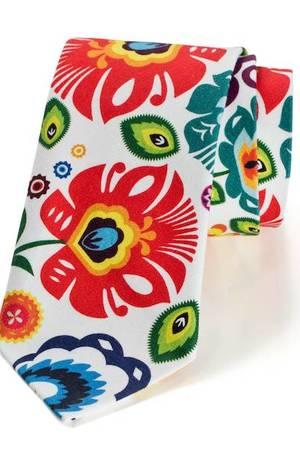 Krawat męski FOLK w kwiaty łowickie biały