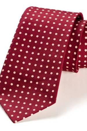 Krawat męski REUS bordo kropki
