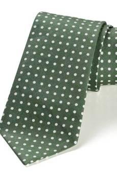 HisOutfit - Krawat męski REUS zielony kropki