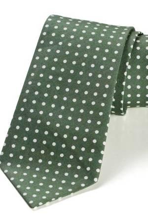 Krawat męski REUS zielony kropki