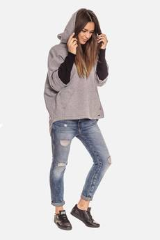 Bien Fashion - Ciepła szara bluza kangurka damska z kapturem