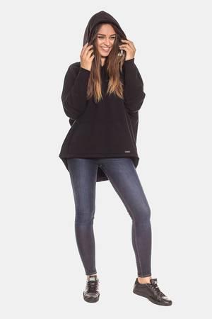 Bawełniana czarna bluza kangurka damska