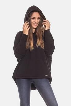 Bien Fashion - Bawełniana czarna bluza kangurka damska