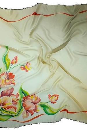 AM-112 Chusta Jedwabna Ręcznie Malowana z Motywem Kwiatów - 67735