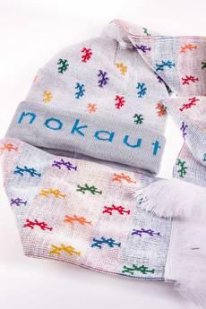Nokaut Costume - Komplet czapka i szalik biały