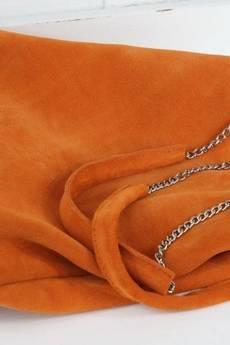 FABIOLA - Zamszowa Worek na łańcuszku pomarańczowy
