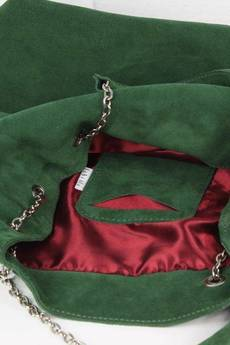 FABIOLA - Zamszowy Worek na łańcuszku butelkowa zieleń