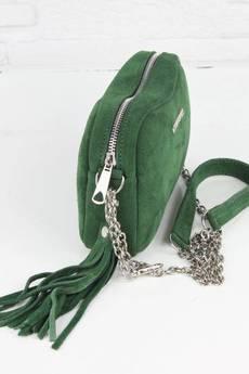 FABIOLA - Zamszowa Fabioletka butelkowa zieleń