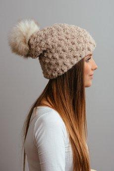 POMPOM - POMPOM - beżowa czapka oversize z  pomponem