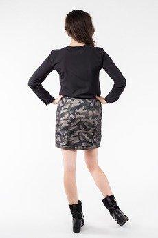 Soleil - Krótka spódnica moro z zamkiem z przodu SL6079