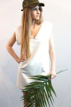 MIW Collection - Biała sukienka z krótkim rękawem