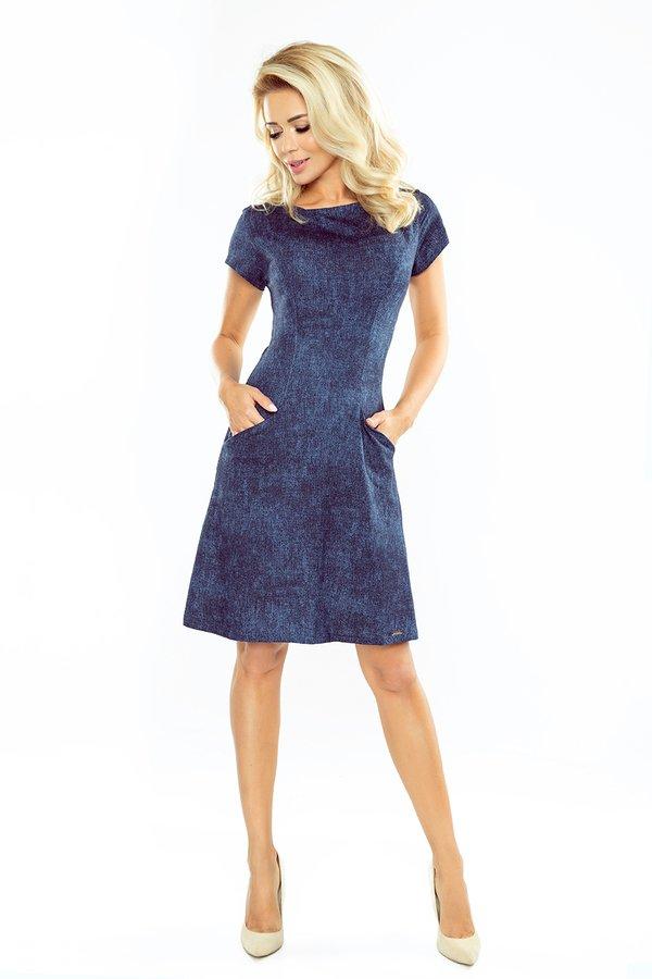 fa9e7b6ac9 Sukienka Adrienne Jeans Krótki Rękaw - Niebieski