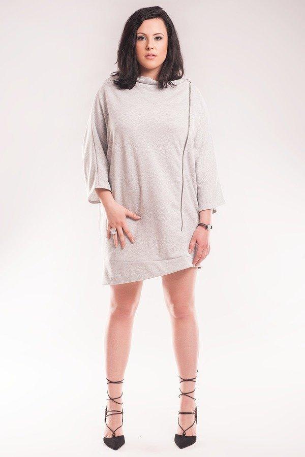 3bd35952d9 Sukienka Z Zamkiem Sl2158 Size Plus - Szary